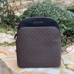 NWT Michael Kors signature LG Emmy backpack brown